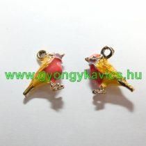 Arany Színű Sárga Rózsaszín Tűzzománc Madár Medál 16x15mm
