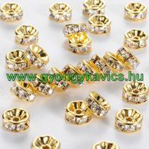 Arany Színű Nyaklánc Karkötő Ékszer Dísz Strassz Kövekkel 10mm