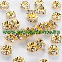 Arany Színű Nyaklánc Karkötő Ékszer Dísz Strassz Kövekkel 6mm