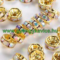 Arany Színű Nyaklánc Karkötő Ékszer Dísz Köztes Szivárványos Strassz Kövekkel 4mm