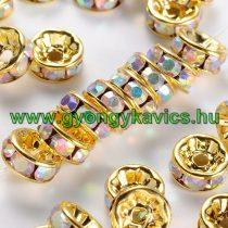 Arany Színű Nyaklánc Karkötő Ékszer Dísz Köztes Szivárványos Strassz Kövekkel 6mm