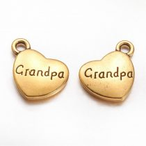 Arany Színű Grandpa Nagypapa Szív Medál Karkötő Nyaklánc 13x15mm