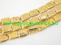 Arany Téglalap Lávakő Ásványgyöngy Gyöngyfüzér 20,5x15,5mm