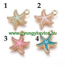Arany Színű Pink Rózsaszín Tűzzománc (3) Tengeri Csillag Medál 18x14,5mm