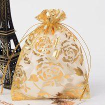 Arany Virágos Organza Díszzacskó Dísztasak 10x12cm