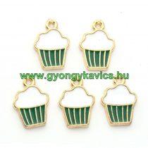 Arany Zöld Fehér Színű Tűzzománc Muffin Sütemény Medál 16x11mm