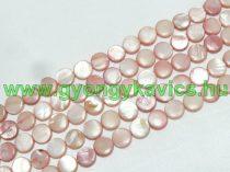 Barack - Rózsaszín Színű Lapos Kerek Kagyló Gyöngy Gyöngyfüzér 10x3mm