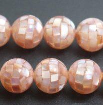 Barack Kagyló Mozaik Gyöngy 10mm