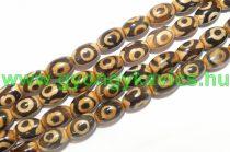 Barna Tibeti Dzi Achát Ásványgyöngy Gyöngyfüzér 11-12x7-9mm