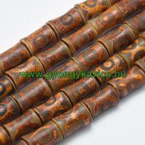 Barna Tibeti Dzi Achát Henger Ásványgyöngy 21-22x13-14mm