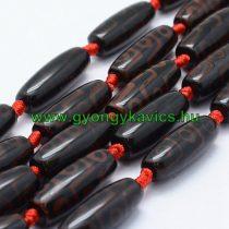 Barna Fekete Tibeti Dzi Achát Henger Ásványgyöngy 29-30x9-12mm