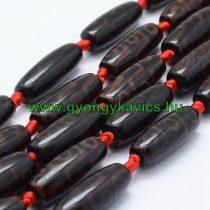 Barna Fekete Tibeti Dzi Achát Henger Ásványgyöngy Gyöngyfüzér 29-30x9-12mm