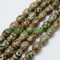 Barna Zöld Tibeti Dzi Achát Henger Ásványgyöngy 10x14mm