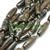 Barna Zöld (1) Tibeti Dzi Achát Henger Ásványgyöngy 29-32x9-13mm