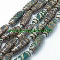 Barna Zöld Tibeti Dzi Achát Henger Ásványgyöngy 29-30x9-12mm
