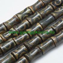 Barna Zöld Tibeti Dzi Achát Henger Ásványgyöngy 21-22x13-14mm