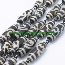 Bézs Fekete Tibeti Dzi Achát Henger Ásványgyöngy 29-30x9-12mm