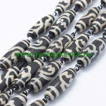 Bézs Fekete Tibeti Dzi Achát Henger Ásványgyöngy Gyöngyfüzér 29-30x9-12mm