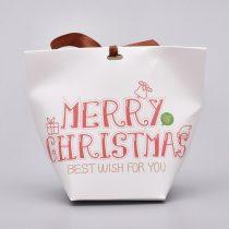 Boldog Karácsonyt Merry Christmas Ajándékdoboz Díszdoboz Ékszerdoboz Fehér 12x6x10cm