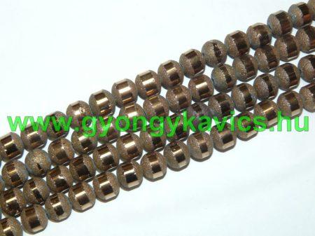 Bronz Arany (világos) Csíkos Üveggyöngy Gyöngyfüzér 8-9mm