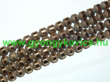 Bronz Arany (világos) Csíkos Üveggyöngy 8-9mm