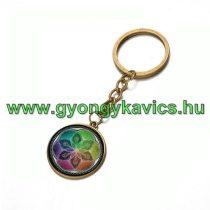 Bronz Színű Életvirág Mandala (3) Kulcstartó Karika 25x80mm