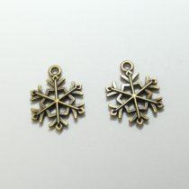 Bronz Színű Hópehely Medál Karácsonyfa Dísz 21x16mm
