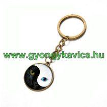 Bronz Színű Jin Jang Macska Cica (28) Kulcstartó Karika 25x80mm