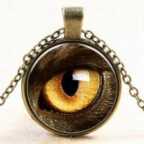 Bronz Színű Macskaszem Medál Lánccal (66) Nyaklánc 27,5mm