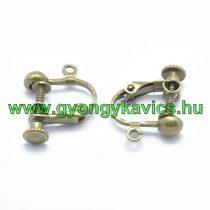 Bronz Színű Állítható Fülbevaló Klipsz Akasztó Kampó 18x14x3mm