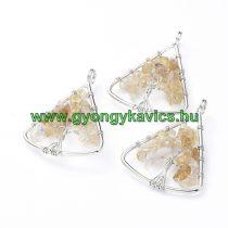 Ezüst Színű Citrin Életfa Háromszög Ásvány Medál 40x30mm