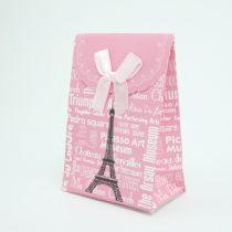 Eiffel Torony Párizs Rózsaszín Díszzacskó Dísztasak Rózsaszín 7,5x10,5cm