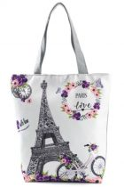 Eiffel Torony Párizs Franciaország Vászon Táska Szatyor Cipzáros 38x27x11cm