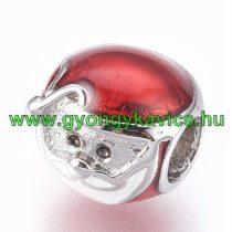 Ezüst Színű Piros Mikulás Charm Nyaklánc Karkötő Ékszer Dísz Köztes 10x9,5x11mm