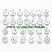 Ezüst Színű ABC Betű Kerek Medál 14x12mm (26db)