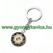 Ezüst Színű Aum Ohm Mandala (15) Kulcstartó Karika 25x80mm