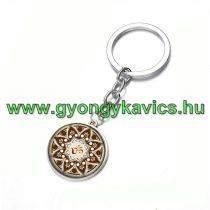 Ezüst Színű Aum Ohm Mandala (17) Kulcstartó Karika 25x80mm