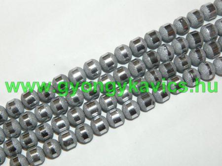 Ezüst Csíkos Üveggyöngy Gyöngyfüzér 8-9mm