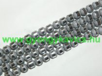 Ezüst Csíkos Üveggyöngy 8-9mm