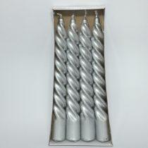 Ezüst Csillámporos Csavart Gyertya 19x2,3cm