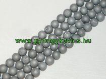 Ezüst Druzy Achát Ásványgyöngy Gyöngyfüzér 6mm