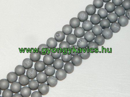 Ezüst Druzy Achát Ásványgyöngy Gyöngyfüzér 8mm