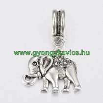 Ezüst Színű Elefánt Charm Medál Nyaklánc Karkötő Ékszer Dísz Köztes 28x18mm