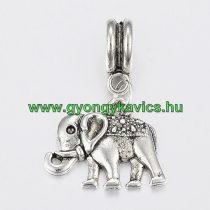 Ezüst Színű Elefánt (2) Charm Medál Nyaklánc Karkötő Ékszer Dísz Köztes 24x14mm