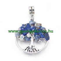 Ezüst Színű Lápisz Lazuli Lazurit Ásvány Életfa Charm Medál Nyaklánc Karkötő Ékszer Dísz Köztes 37x25mm