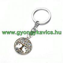 Ezüst Színű Életfa (1) Kulcstartó Karika 25x80mm
