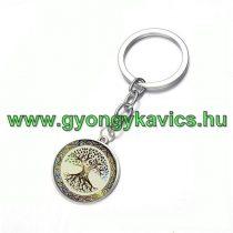 Ezüst Színű Életfa (2) Kulcstartó Karika 25x80mm