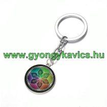 Ezüst Színű Életvirág Mandala (8) Kulcstartó Karika 25x80mm