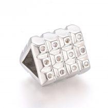 Ezüst Színű Fehér Cirkón Cirkónia Strasszos Háromszög Nyaklánc Karkötő Ékszer Dísz Közdarab Köztes Charm 8,5x10,5x9,5mm