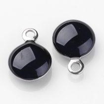 Ezüst Fekete Színű Tűzzománc Gömb Medál 11x8mm